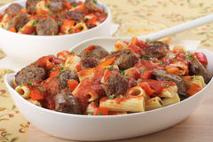 Bratwurst and Pasta Royalty Free Stock Photography