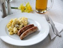 Bratwurst with potato salad Stock Image