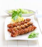 Bratwurst - salsiccia fritta Fotografia Stock