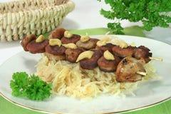 bratwurst sauerkraut Zdjęcia Royalty Free