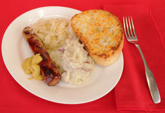 Bratwurst and Sauerkraut Stock Photos
