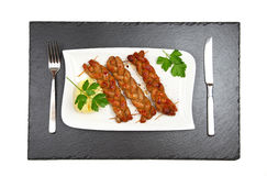 bratwurst stekt övre sikt för korv Royaltyfri Fotografi