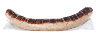 Bratwurst tedesco (su bianco) Immagine Stock