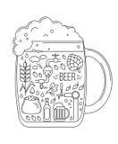 Brauenikonen im Schattenbild des Bierkrugs Lizenzfreie Stockfotos
