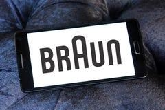 Braun logo. Logo of electronics and kitchen appliance company braun on samsung mobile phone a5 Stock Image
