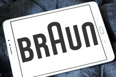 Braun logo. Logo of electronics and kitchen appliance company braun on samsung tablet Royalty Free Stock Photography