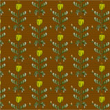 Braun pattern. Braun background and yellow flowers with leaf Royalty Free Stock Photo