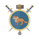 Braun Wolf in the Collar. Icon in Flat. Braun wolf in the gold collar.  avatar icon with swords. Wolf with showing fangs. Stylized fantasy character. Game object Stock Photo