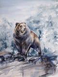 Braunbär, der auf Felsenaquarell steht Stockfotos