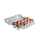 10 braune Eier Stockfoto