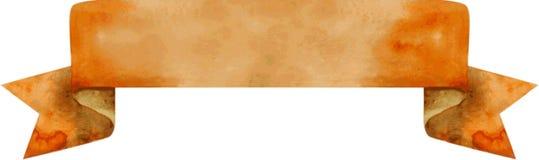 Braune Fahne des Aquarells Auch im corel abgehobenen Betrag Stockfotos
