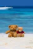 Braune Farbe von zwei TEDDYBÄREN, die auf dem schönen Strand mit b sitzt Lizenzfreie Stockbilder