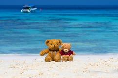 Braune Farbe von zwei TEDDYBÄREN, die auf dem schönen Strand mit b sitzt Lizenzfreies Stockbild