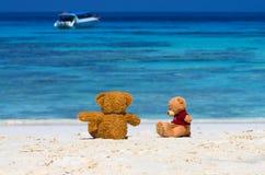 Braune Farbe von zwei TEDDYBÄREN, die auf dem schönen Strand mit b sitzt Stockbild