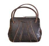 Braune Lederhandtasche der Weinlese von den fünfziger Jahren Lizenzfreie Stockbilder