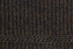 braune und schwarze Strickgarnbeschaffenheit für Muster und Hintergrund Lizenzfreie Stockfotografie