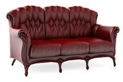 brauner Stuhl 3D auf einem weißen Hintergrund stock abbildung