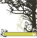 braunes Baum- und Blumenfeld Lizenzfreie Stockfotografie