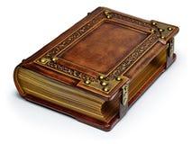 Braunes ledernes Buch der Weinlese mit vergoldeten Papierkanten, Metallecken und Bügeln lizenzfreie stockfotos