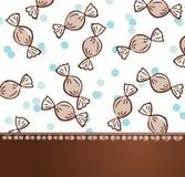 Braunes und blaues Hintergrundschablonendesign der Süßigkeitsmusterpartei-Feier Lizenzfreie Stockfotos