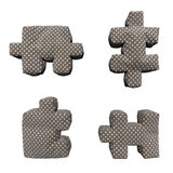 Braunpuzzlespiele des Gewebe 3D in den weißen Erbsen Stockbild