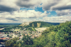 Braunsberg hill and Hainburg an der Donau, blue photo filter Stock Photo