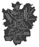 Braunschweig city map Germany DE labelled black illustration. Braunschweig city map Germany DE labelled black Royalty Free Stock Photo