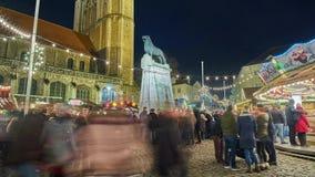 Braunschweig, Germania - 17 dicembre 2017: Belle illuminazioni di natale in Brunswick alla settimana di Natale Lasso di tempo video d archivio