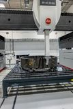 Braunschweig, Lower Saxona, Germany, August 8., 2018: Three-dimensional scanner with high accuracy for exact measurement of the. Large components of wind stock photography