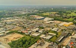 Braunschweig, Niedersachsen, Deutschland, am 24. Mai 2018: Handels- und Industriegebiet am Hafen von Braunschweig, Vogelperspekti Lizenzfreie Stockfotografie