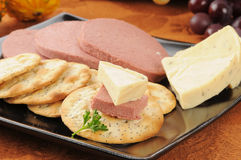 Braunschweiger, cheese and crackers Stock Images