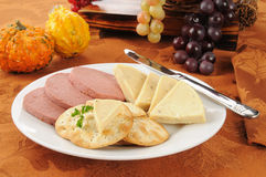 Braunschweiger, cheese and crackers Stock Photography