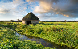 Braunton Marshes in Devon. A beautiful round thatched barn on Braunton Marshes near Barnstaple in Devon royalty free stock image