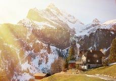 Braunwald, beroemde Zwitserse het ski?en toevlucht royalty-vrije stock foto