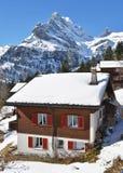 Braunwald, beroemde Zwitserse het ski?en toevlucht Stock Afbeeldingen