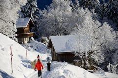 Braunwald in de Bergen van de Sneeuwkerstmis van Zwitserland Stock Foto's