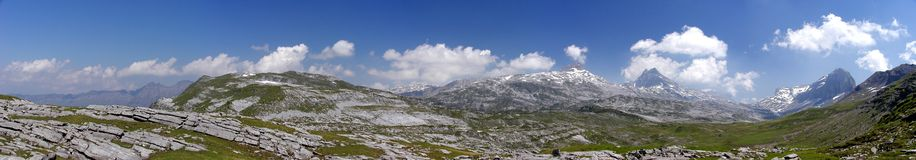 Braunwald Panorama. Panorama from plateau in Swiss Alps, canton Glarus, between Bisisthal and Braunwald royalty free stock photography