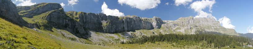 Braunwald Panorama. Panorama from Braunwald of the giant stone wall Legerwand. Switzerland, canton Glarus stock photography