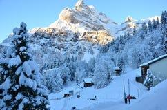 Braunwald w Szwajcaria Śnieżnych Bożenarodzeniowych górach Zdjęcie Stock
