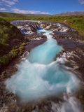 Braurfossar is amazing waterfall stock photo