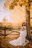 Braut in Art boho Stand auf Hintergrund der Herbstnatur stockfotos