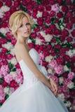 Braut auf dem Pfingstrosenhintergrund Stockfotos