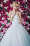 Braut auf dem Pfingstrosenhintergrund Stockbild