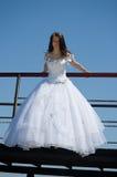Braut auf einer Brücke lizenzfreies stockfoto