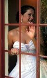 Braut auf ihrem Hochzeitstag lizenzfreies stockbild
