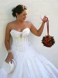 Braut auf ihrem Hochzeitstag stockfoto