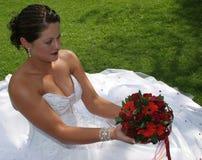 Braut auf ihrem Hochzeitstag Stockfotos