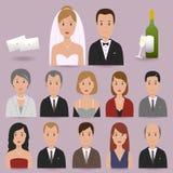 Braut, Bräutigam und Hochzeitsgäste stock abbildung