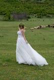Braut in den Bergen Das Konzept des Lebensstils und der Hochzeit lizenzfreies stockbild