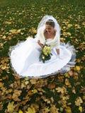 Braut in den Yelow Blättern Stockbilder